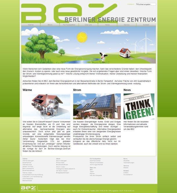 Startseite des Berliner Energie Zentrums