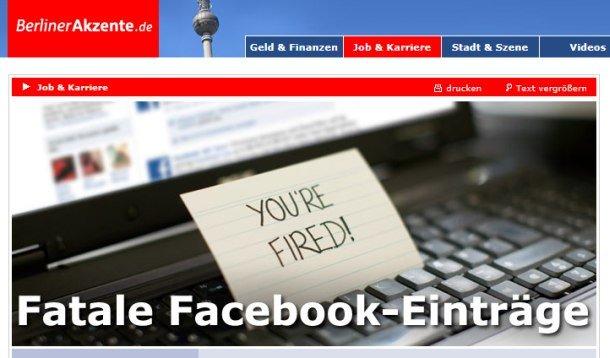 Artikel über Facebook und Bewerbungen mit Marketingberater Enno E. Peter