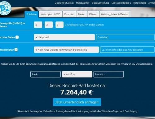 Badrechner auf responsiver Website für Fachhandwerker